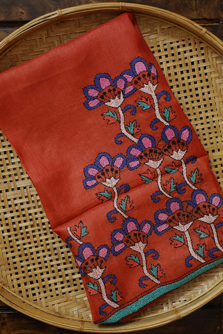 Rust Red with Blue Kantha Work Tussar Silk Blouse Fabric