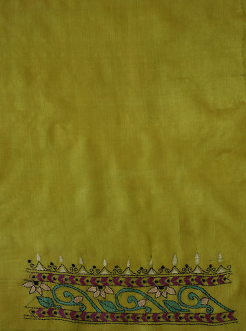 Yellowish Green Embroidered Tussar Silk Blouse