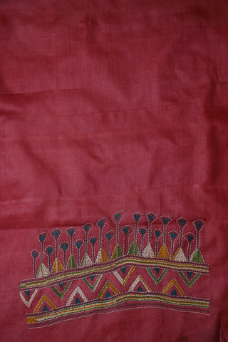 Double Shaded Pink Embroidered Tussar Silk Blouse Fabric