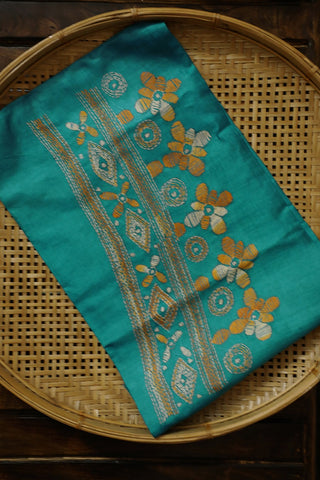 Ramar Blue Kantha Embroidered Silk Blouse Fabric