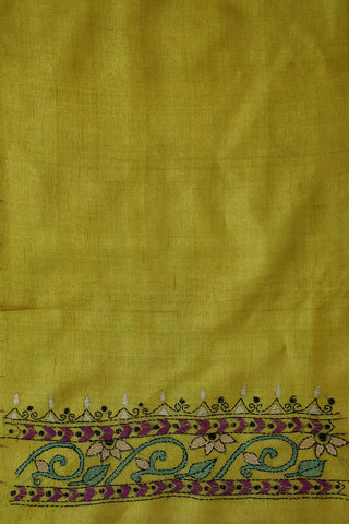 Yellowish Green Kantha Work Tussar Silk Blouse