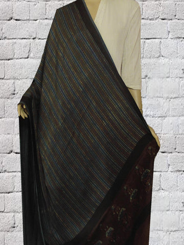 Indigo with Black Lines Modal Silk Dupatta