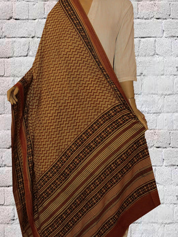 Beige with rust red Tussar Cotton Dupatta