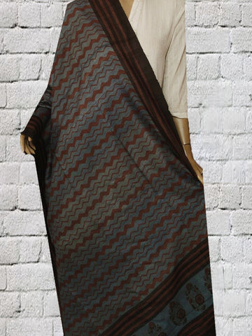 Blue with Brown Zig Zag Tussar Silk Dupatta