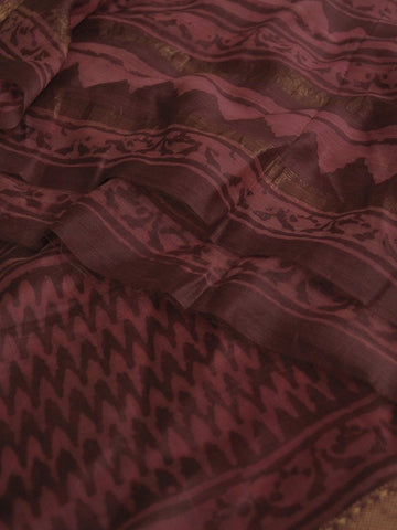 Pink with Grey Lines Chanderi Dupatta