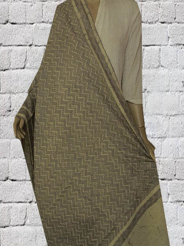 Grey with Off White Zig Zag Lines Tussar Silk Dupatta