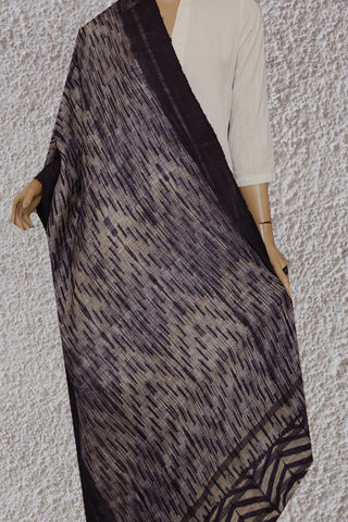 Chevron Patterned Dark Blue Shibori Gicha Tussar Silk Dupatta