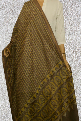 Greyish Brown Ajrak Block Printed Dupatta
