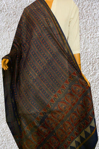 Blue with Brown Lines Ajrak Chanderi Silk Dupatta