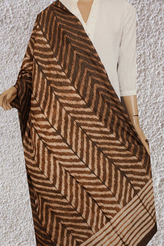 Brown Stitch & Dye Tussar Silk Dupatta