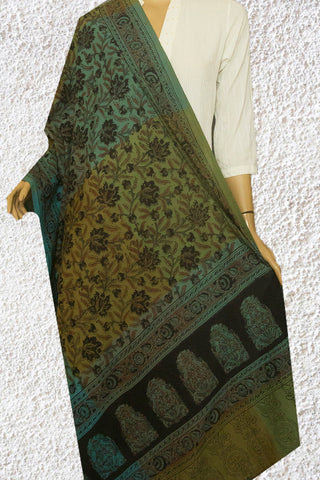 Bluish Green with Black Floral Handwoven Block Printed Kalamkari Dupatta