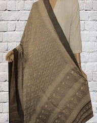 Grey Dabu Print Tussar Cotton Dupatta