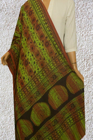 Pickle Green with Brown Handwoven Kalamkari Dupatta