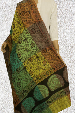 Multi Colour Block Printed Kalamkari Dupatta