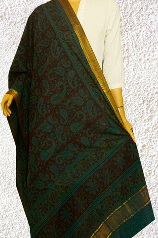 Brown with Paisley Block Printed Mangalagiri Kalamkari Dupatta