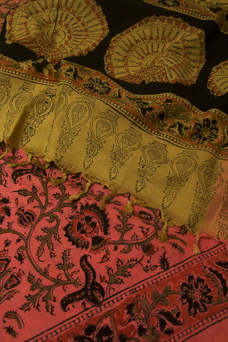 Shades of Pink with Beige Printed Kalamkari Dupatta