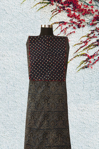 Indigo Ajrak with Dotted yoke with boondi buttons on the sides