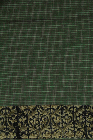 Handwoven Green checkered fabric with Kalamkari Yoke