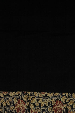Black Yarn Dyed Fabric with Printed Kalamkari Yoke and boondi buttons