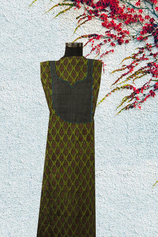 Green Block Printed with Handwoven Yoke