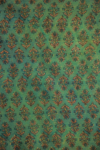 Double Shade Green Chanderi Silk Cotton Fabric