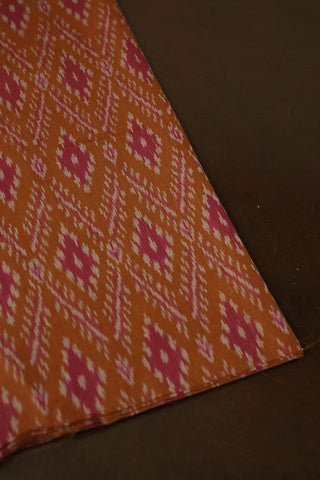 Fenugreek Brown with Pink Diamond Ikat Silk Cotton Fabric