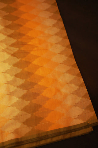 Shades of Yellow Ikat Silk Cotton Fabric