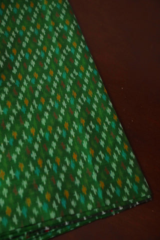 Green Ikat Silk Cotton Fabric