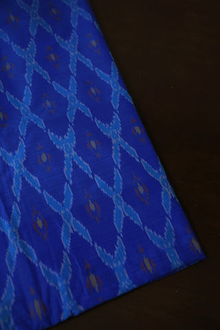 Blue Big Checks Ikat Silk Cotton Fabric