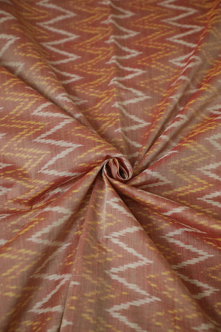 Double Shade Light Maroon Zig Zag Ikat Silk Cotton Fabric