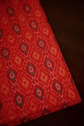 Muted Orange Ikat Silk Cotton Fabric