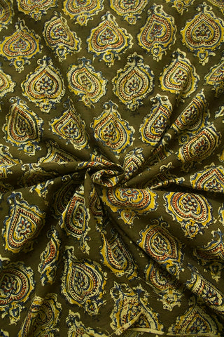 Olive Green with Yellow Block Printed Kalamkari Fabric