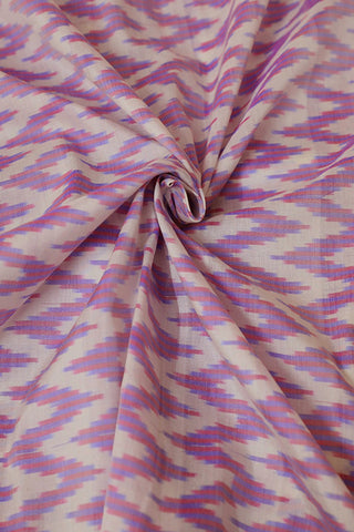 Off White Zig Zag Ikat Silk Cotton Fabric
