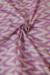 White with Purple Zig Zag Ikat Silk Cotton Fabric-0.8 m