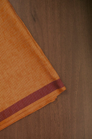 Mango Yellow Checkered Handwoven Cotton Fabric-2.4 m
