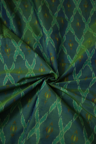 Double Shade Blue Green Ikat Silk Cotton Fabric