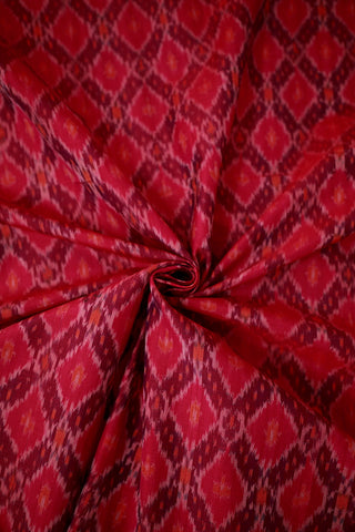 Red Diamond Ikat Silk Cotton Fabric