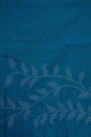 Blue Leaf Floral Ikat Silk Cotton Fabric