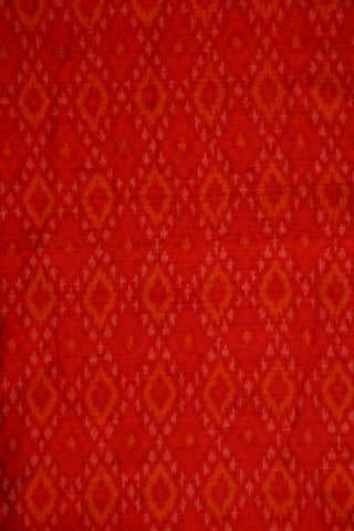 Red with Yellow Checks Ikat Raw Silk Fabric