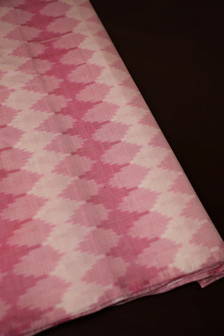 Off White with Light Pink Ikat Silk Cotton Fabric