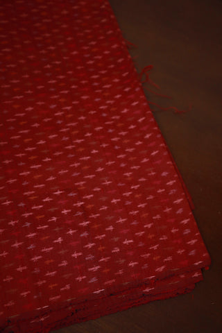 Maroon Ikat Raw Silk Fabric