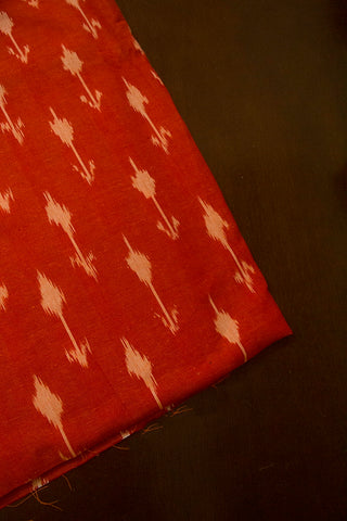Orangish Peach Ikat Cotton Fabric