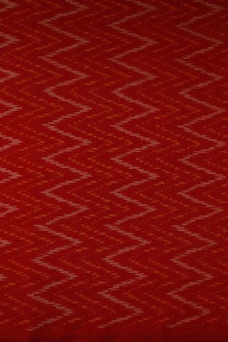 Rust Orange with Zig Zag Ikat Silk Cotton Fabric