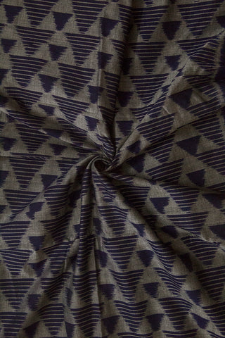 Grey with Blue Triangle Orissa Ikat Cotton Fabric