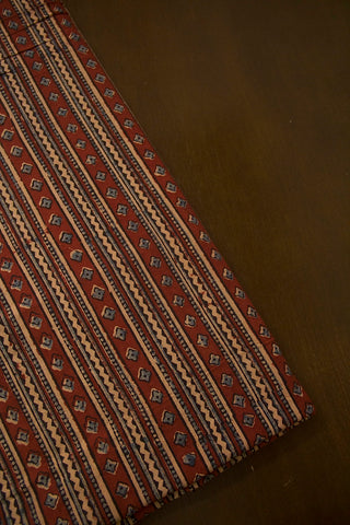 Lines Block Printed Ajrak Cotton Fabric