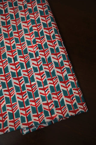 Red with Ramar Blue Block Printed Mul Cotton Fabric
