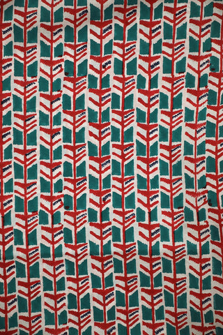 Red with Ramar Blue Block Printed Mul Cotton Fabric-1 m