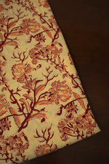 Beige with Maroon Floral Block Printed Sanganeri Cotton Fabric-0.7 m