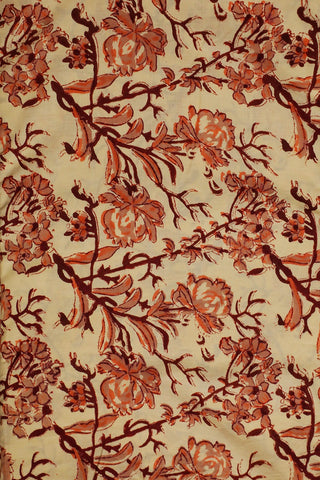 Beige with Maroon Floral Block Printed Sanganeri Cotton Fabric