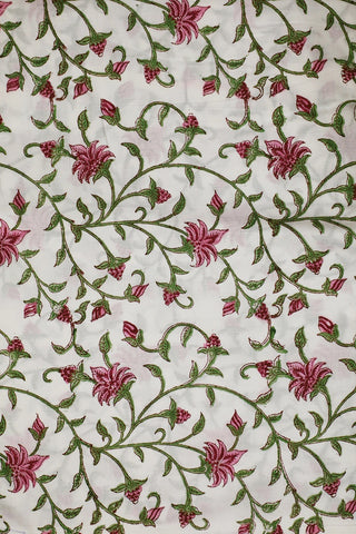 White with Pink Floral Block Printed Sanganeri Cotton Fabric
